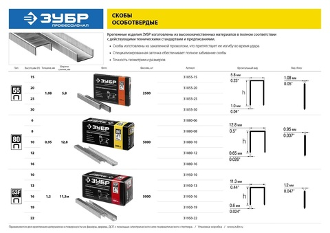 ЗУБР 8  мм скобы для степлера тонкие широкие тип 80, 5000 шт
