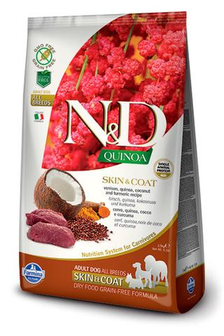 7 кг. FARMINA N&D Quinoa Сухой корм для взрослых собак с олениной, киноа, кокосом и куркумой Adult Dog Skin&Coat Venison