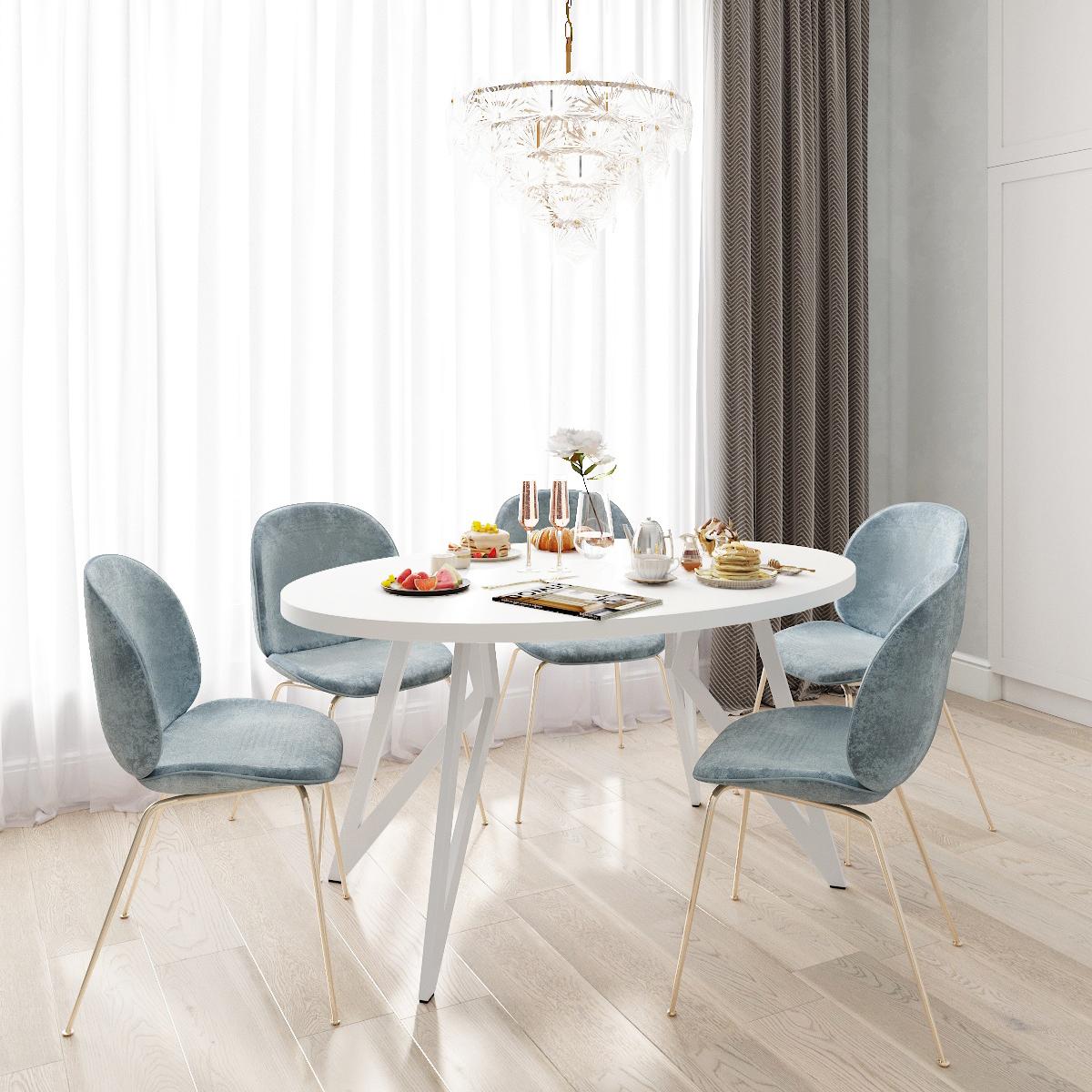 Обеденный стол ДОМУС Оригами-2 белый/металл белый