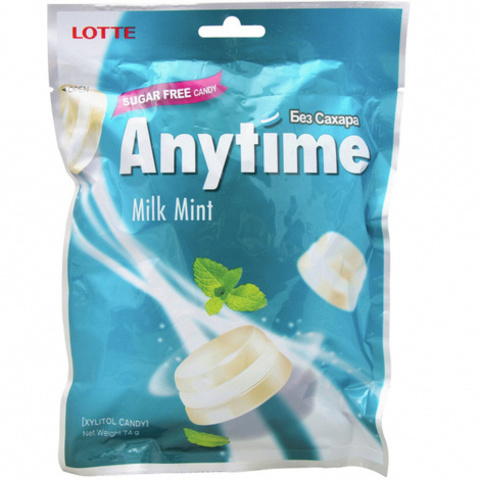 Леденцы Lotte AnyTime Milk mint 74 гр