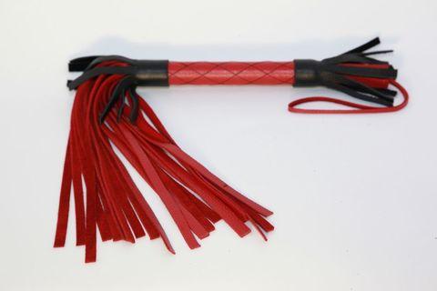 Красно-черная кожаная плётка - 51 см.
