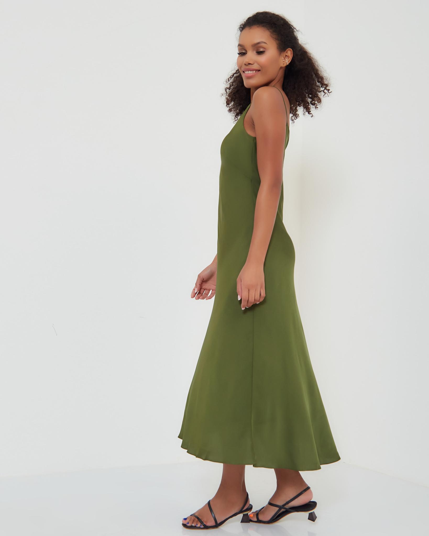 Платье-комбинация в цвете летней травы