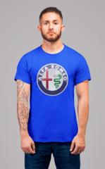 Мужская футболка с принтом Альфа Ромео (Alfa Romeo) синяя 001