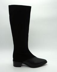 Сапоги из комби(замша+кожа) черного цвета