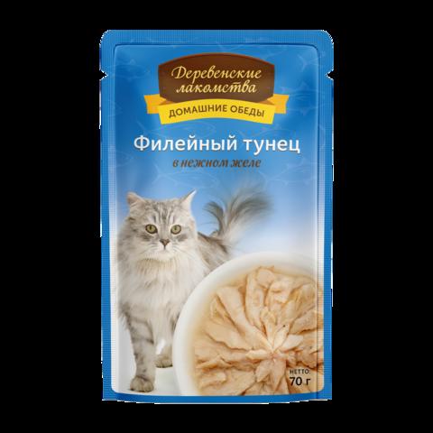 Деревенские лакомства Консервы для кошек с филейным тунцом в нежном желе (пауч)