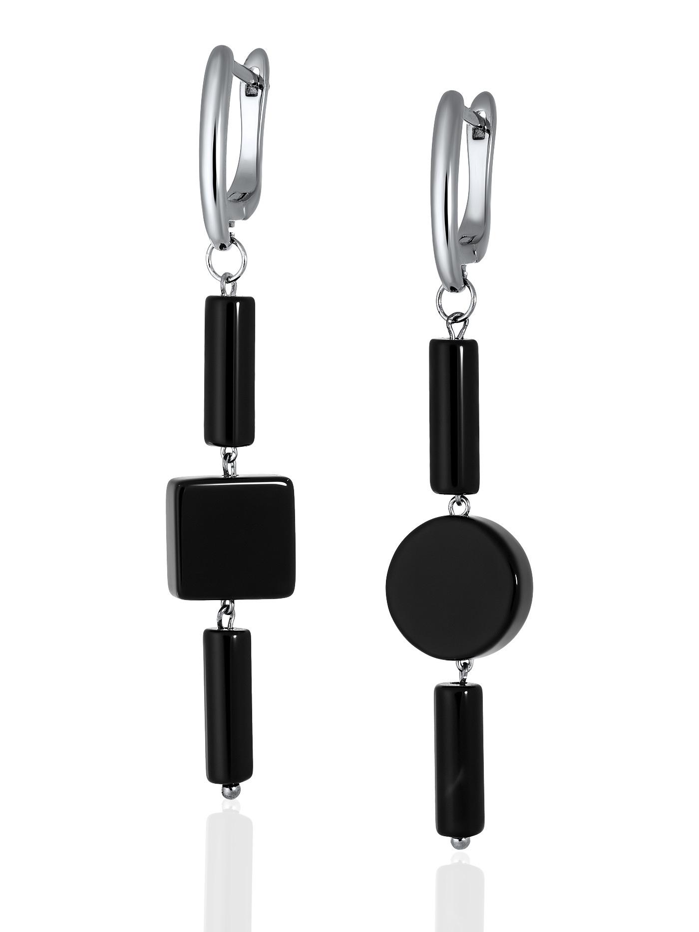 Серьги асимметричные с черным агатом в подарочной коробке