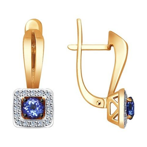 6024079 - Серьги из золота с бриллиантами и танзанитами
