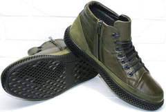 Модные зимние мужские ботинки на толстой подошве термо Luciano Bellini BC2803 TL Khaki.