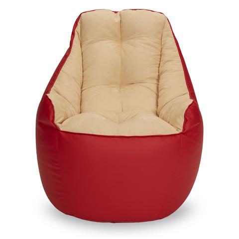 Бескаркасное кресло «Босс», Красный и бежевый