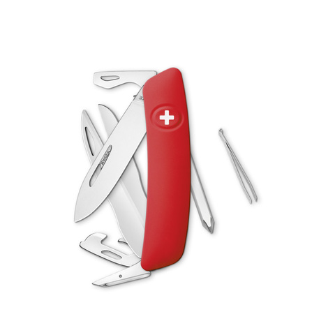 Швейцарский нож SWIZA D08 Standard, 95 мм, 12 функций, красный