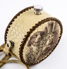 Фляга круглая в кожаном чехле Охота, 700 мл, фото 2