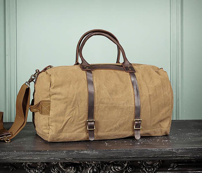 BAG500-2 Большая дорожная сумка из ткани коричневого цвета