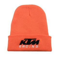 Вязаная шапка с отворотом и вышивкой Cross border KTM, оранжевая