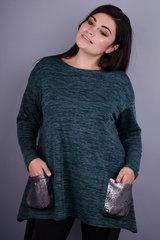 Євгенія. Красива туніка для жінок з пишними формами. Смарагд.