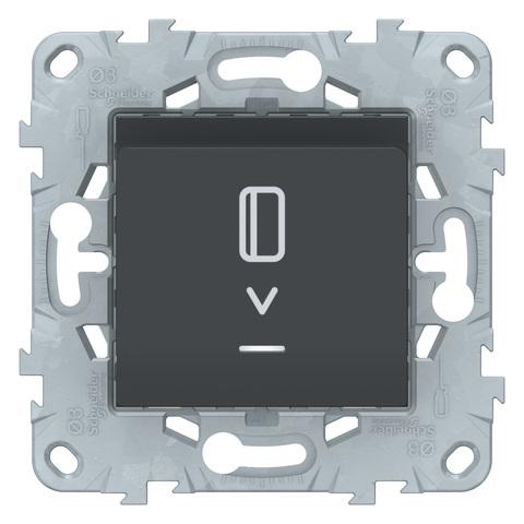 Выключатель карточный с подсветкой. Цвет Антрацит. Schneider Electric Unica New. NU528354