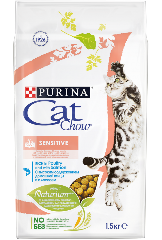 Purina Cat Chow Purina Cat Chow Sensitive для кошек с чувствительным пищеварением с домашней птицей и лососем Sensitive.png