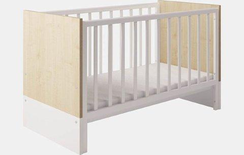 Кроватка детская Polini kids Classic 140х70см, дуб - белый глянец