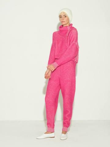 Женские брюки розового цвета из мохера и кашемира - фото 4