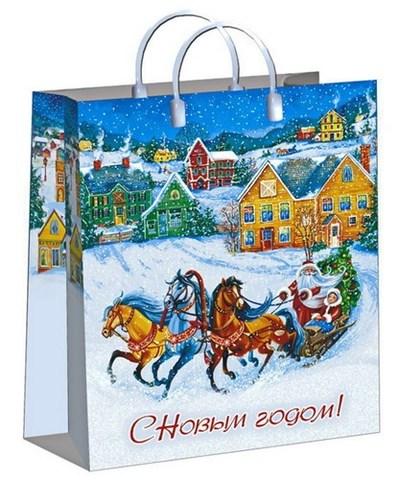 Новогодние пакеты 30х40+10 (150) из мягкого пластика (Пора чудес)