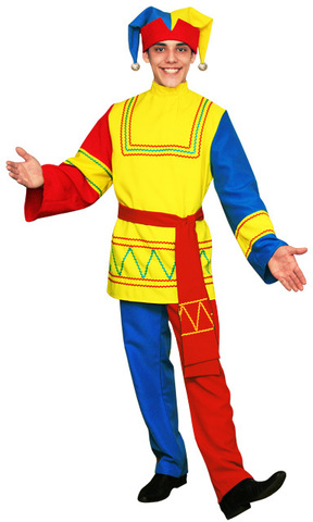 Русский костюм Скомороха голубой