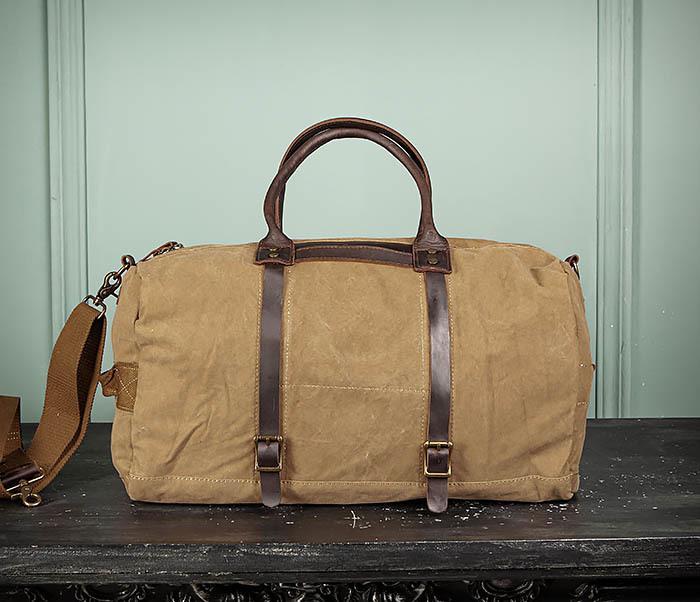 BAG500-2 Большая дорожная сумка из ткани коричневого цвета фото 02