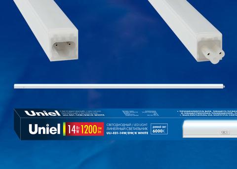 ULI-E01-14W/DW/K WHITE  Светильник линейный светодиодный (аналог T5), c выключателем. Дневной свет (6000K). 1200Лм. Корпус белый. ТМ UNIEL.