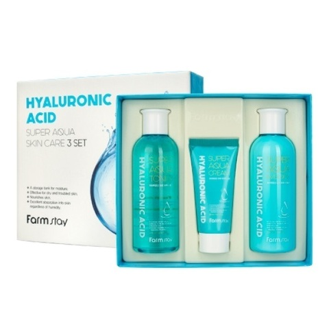 Farm Stay Hyaluronic Acid Super Aqua Skin Care 3 Set набор средств по уходу за кожей с гиалуроновой кислотой (3 средства)