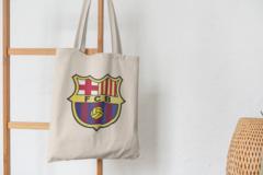 Сумка-шоппер с принтом FC Barcelona (ФК Барселона) бежевая 006