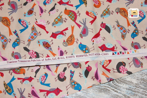 Ткань для пэчворка 20373 Лоскутные птицы (45х55см)