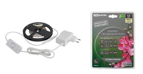 Комплект светодиодной ленты SMD2835-60 LED/м-12 В-4,8 Вт/м-IP20-3000 К (1 м), 6 Вт TDM