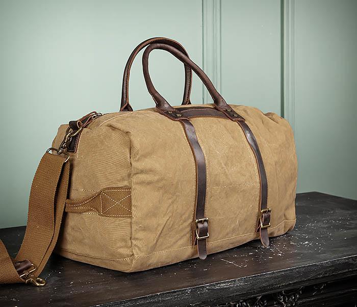 BAG500-2 Большая дорожная сумка из ткани коричневого цвета фото 03