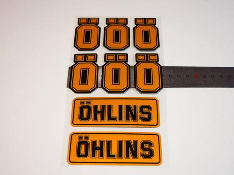 Наклейки для амортизатора Ohlins оранжево-чёрный комплект