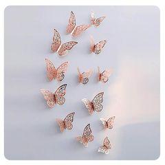 Наклейки Бабочки №3 12 шт бумага Розовое золото, Размер: 8 см-4 шт, 10 см-4 шт, 12 см-4 шт.