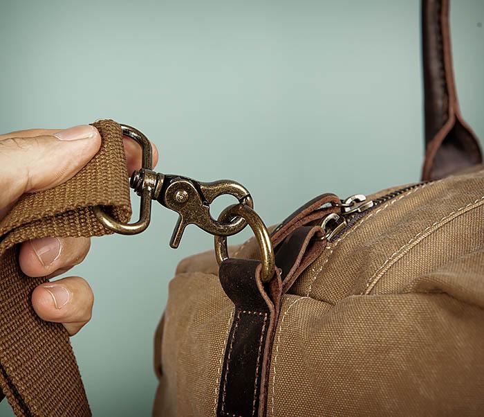 BAG500-2 Большая дорожная сумка из ткани коричневого цвета фото 04