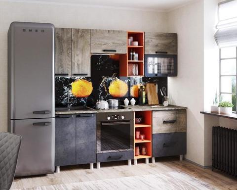 Кухня КРАФТ 1600 дуб эндгрейн / бетон темный / дуб сонома