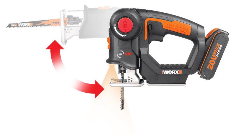 Лобзик аккумуляторный-сабельная пила WORX Axis WX550.1, 20В, 2Ач x2, кейс