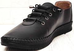 Модные мокасины кроссовки черные кожаные женские деловой кэжуал EVA collection 151 Black.