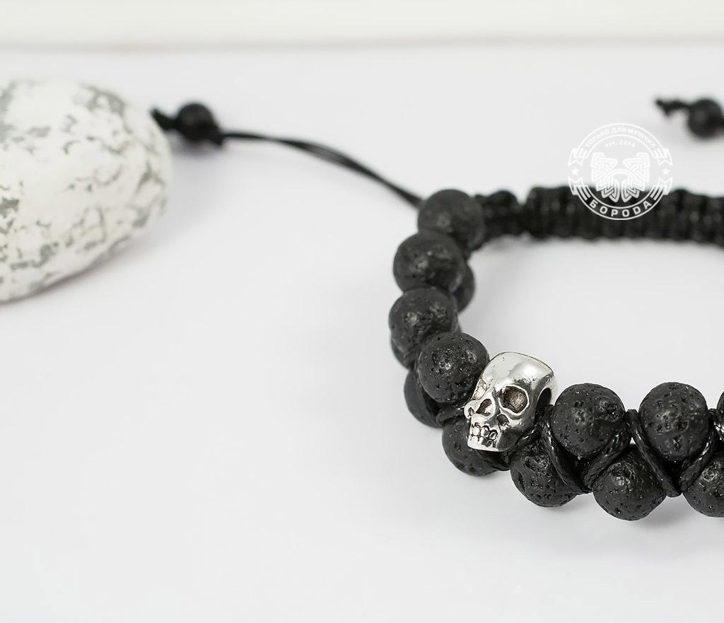 BS604 Мужской браслет шамбала с черепами, вулканическая лава. «Boroda Design» фото 04
