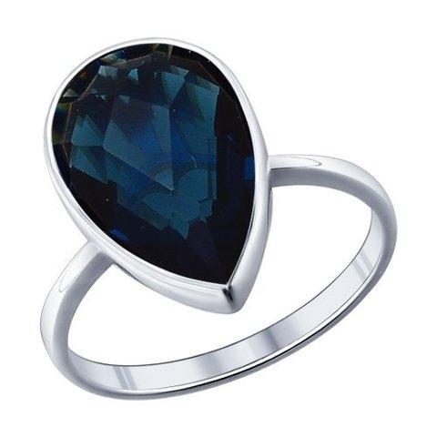 94011522 - Кольцо из серебра с каплевидной вставкой цвета морской волны