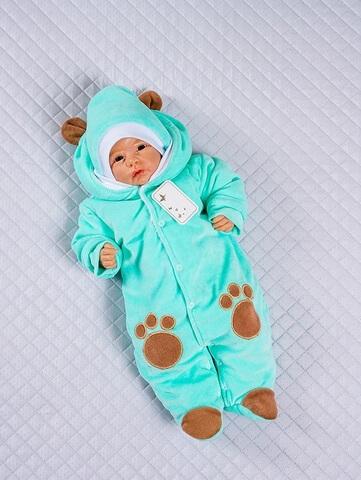 Комбинезон с шапкой для новорожденного Little Bear ментол