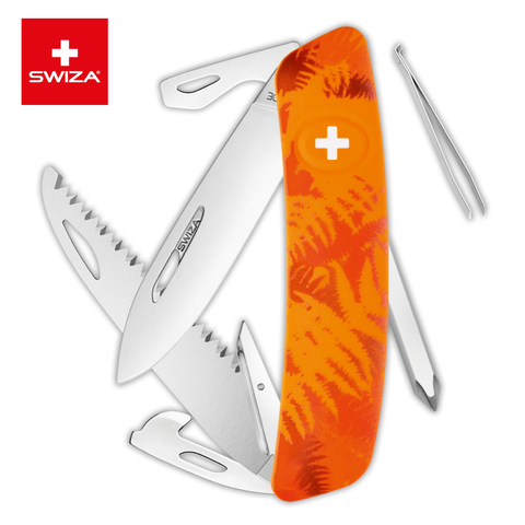 Швейцарский нож Swiza  (KNI.0060.2060) C06 Camouflage 95 мм 12 функций оранжевый
