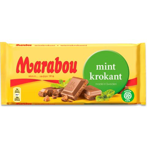 Marabou mint krokant 200 гр