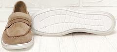 Модные лоферы туфли замшевые женские Anna Lucci 2706-040 S Beige.