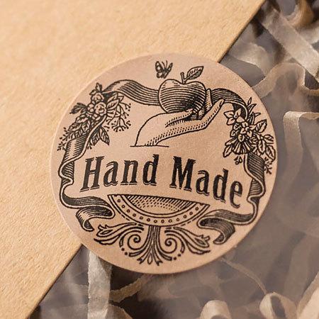 Стикеры на упаковку круглые Hand Made