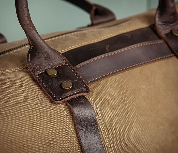 BAG500-2 Большая дорожная сумка из ткани коричневого цвета фото 06