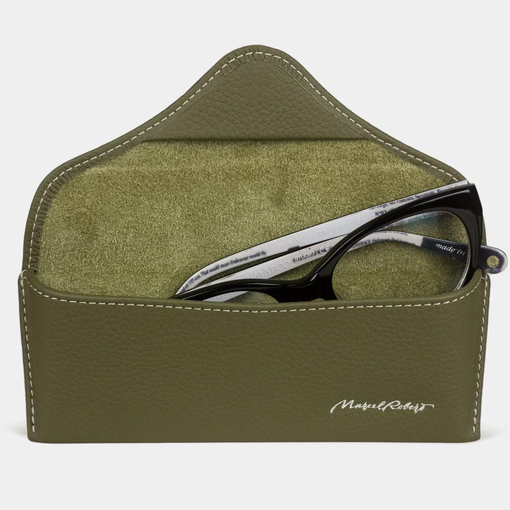 Футляр для очков Vision Easy из натуральной кожи теленка, зеленого цвета