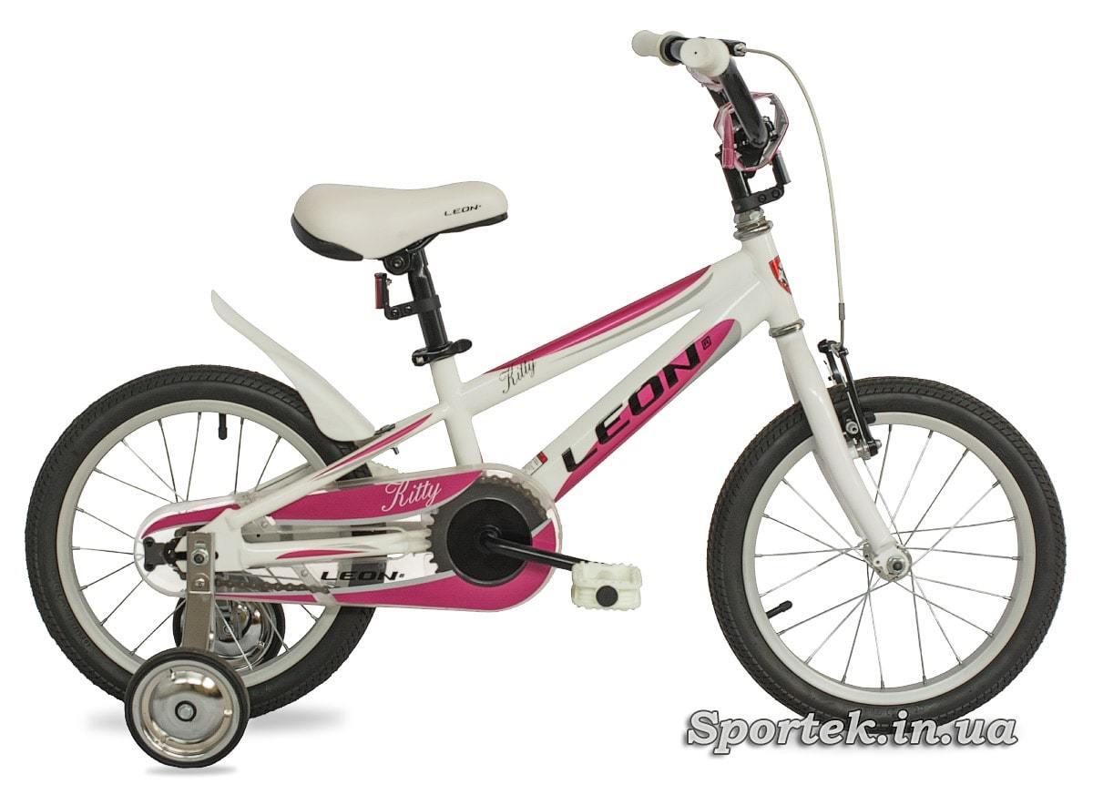 Бело-красный детский велосипед Leon Kitty (Леон Китти)