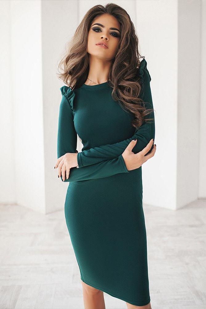 Трикотажное платье миди, бутылочного цвета