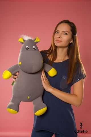 Подушка-игрушка антистресс Gekoko «Бегемот Няша», желтый