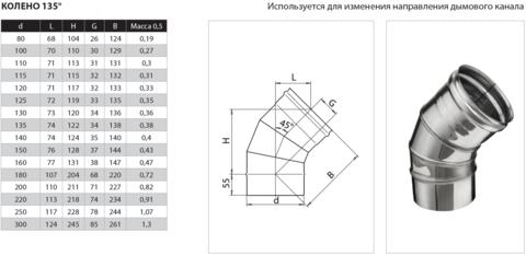 Колено угол 135° (430/0,8 мм) Ф120